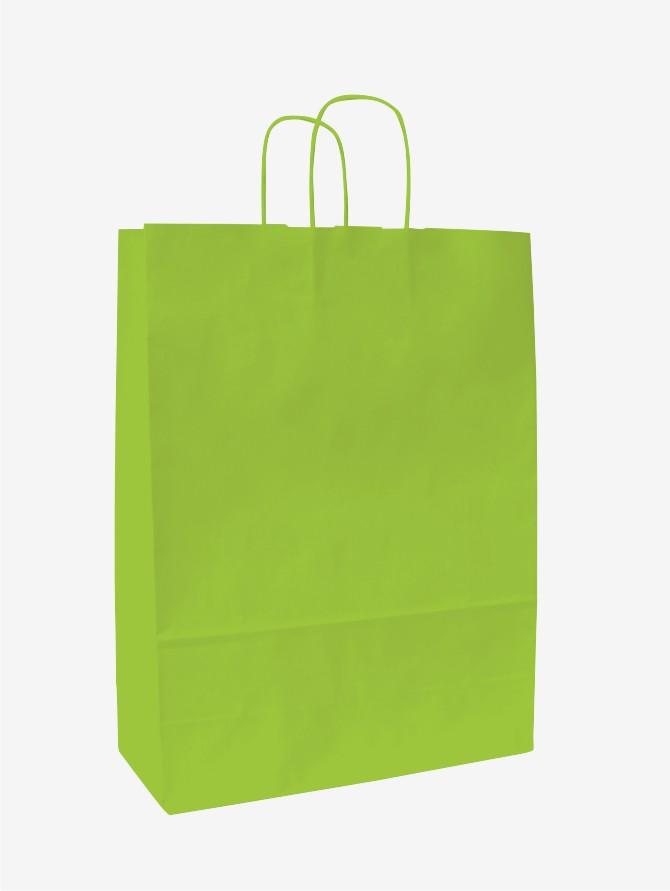 Papírové tašky o rozměru 320 x 130 x 280 mm, sv.zelená, kr. pap. držadlo.