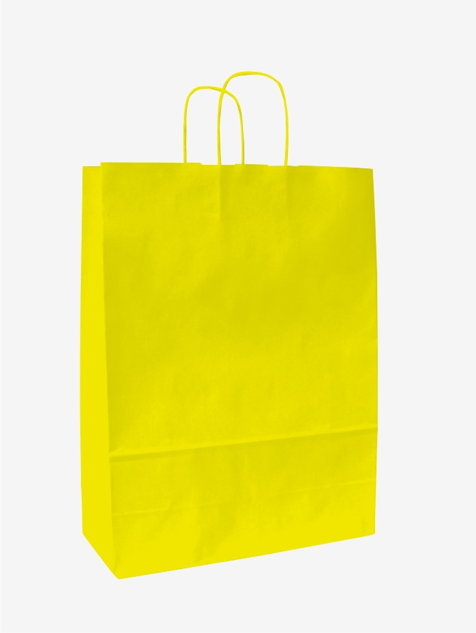 Papírové tašky o rozměru 180 x 80 x 200 mm, žlutá, kr. pap. držadlo.