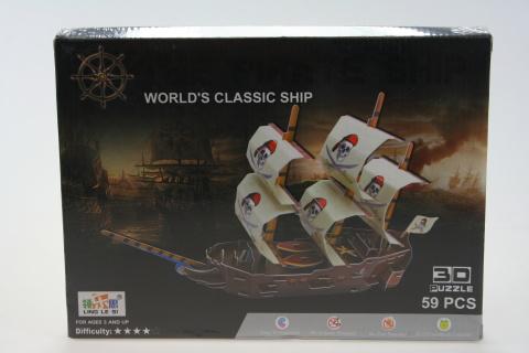 Stavebnice 3D Loď pirátská -59 dílků