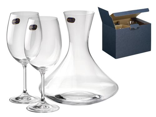 WINE SET - sada karafa a 2 sklenice, BOHEMIA v dárkové karto