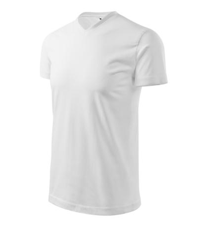 Heavy V-neck tričko unisex bílá 4XL