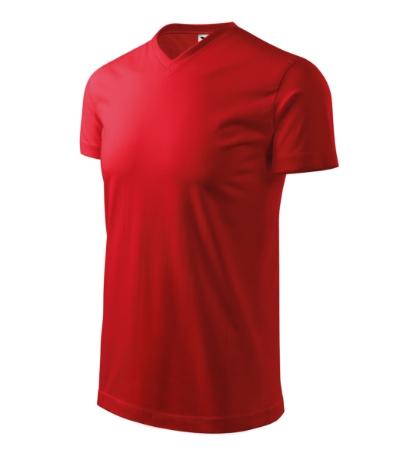 Heavy V-neck tričko unisex červená 3XL