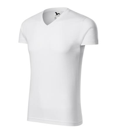 Slim Fit V-neck tričko pánské bílá XXXL