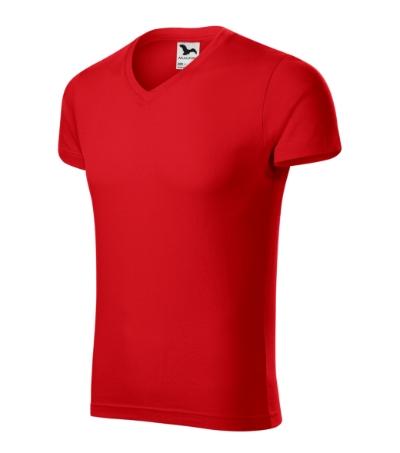 Slim Fit V-neck tričko pánské červená XXXL