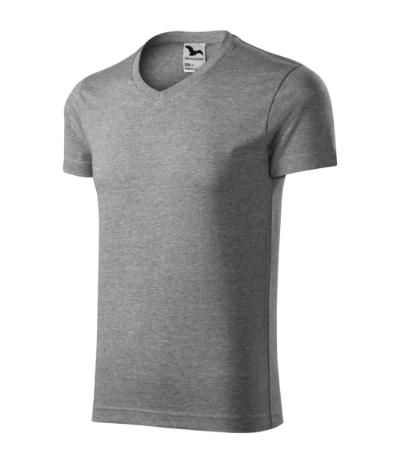 Slim Fit V-neck tričko pánské tmavě šedý melír 3XL