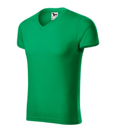 Slim Fit V-neck tričko pánské středně zelená 3XL