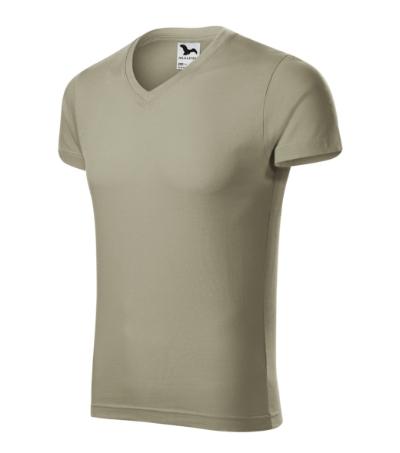 Slim Fit V-neck tričko pánské světlá khaki XXXL