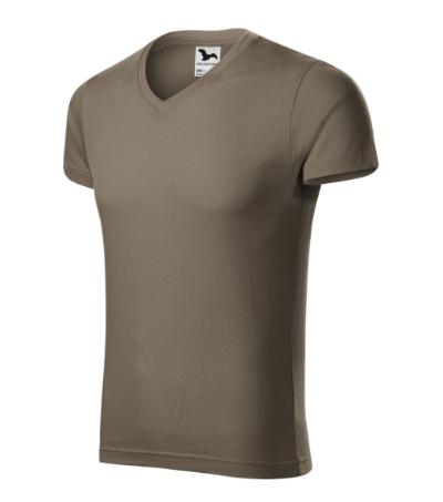 Slim Fit V-neck tričko pánské army XXXL