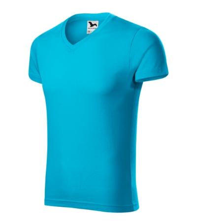 Slim Fit V-neck tričko pánské tyrkysová 3XL