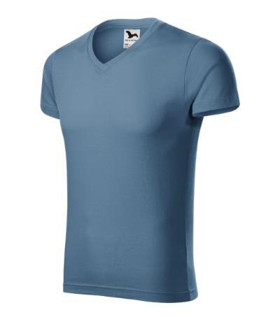 Slim Fit V-neck tričko pánské denim XXXL