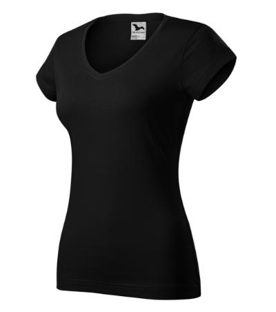 Fit V-neck tričko dámské černá 2XL
