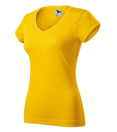Fit V-neck tričko dámské žlutá 2XL