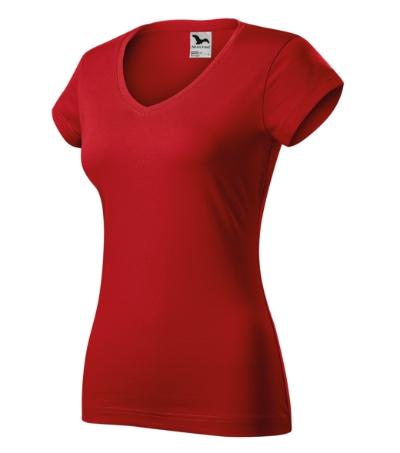 Fit V-neck tričko dámské červená 2XL