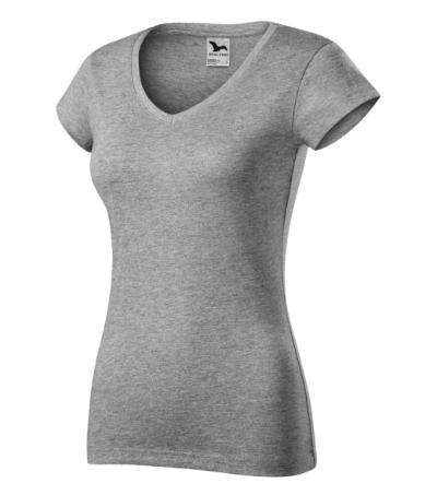 Fit V-neck tričko dámské tmavě šedý melír 2XL