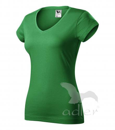Fit V-neck tričko dámské středně zelená 2XL