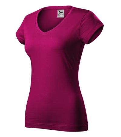 Fit V-neck tričko dámské fuchsia red 2XL