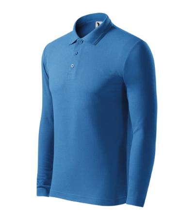 Pique Polo LS polokošile pánská azurově modrá XXXL