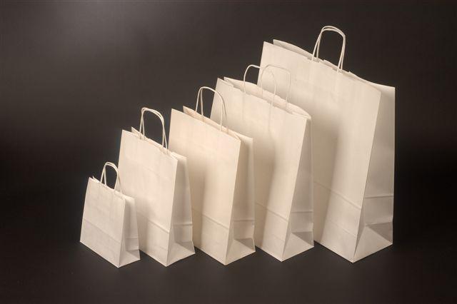 Bílý kraftový papír o rozměru<br> 260 x 110 x 345 mm,bílá pap. kr. držadla,