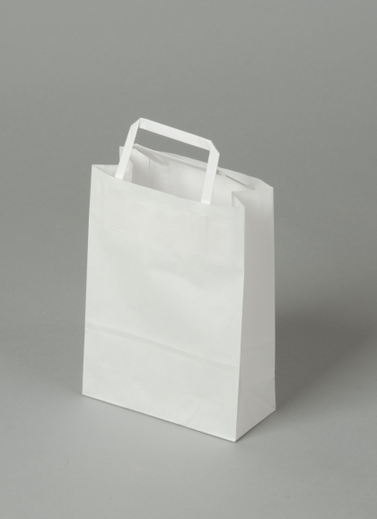 Papírové tašky o rozměru<br> 180 x 80 x 250 mm,bílé, kraftový papír.