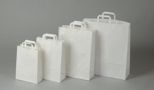 Papírové tašky o rozměru<br> 260 x 110 x 380 mm,bílé, kraftový papír.