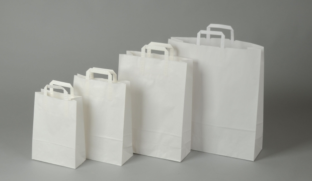 Papírové tašky o rozměru<br> 230 x 100 x 320 mm,bílé, kraftový papír.