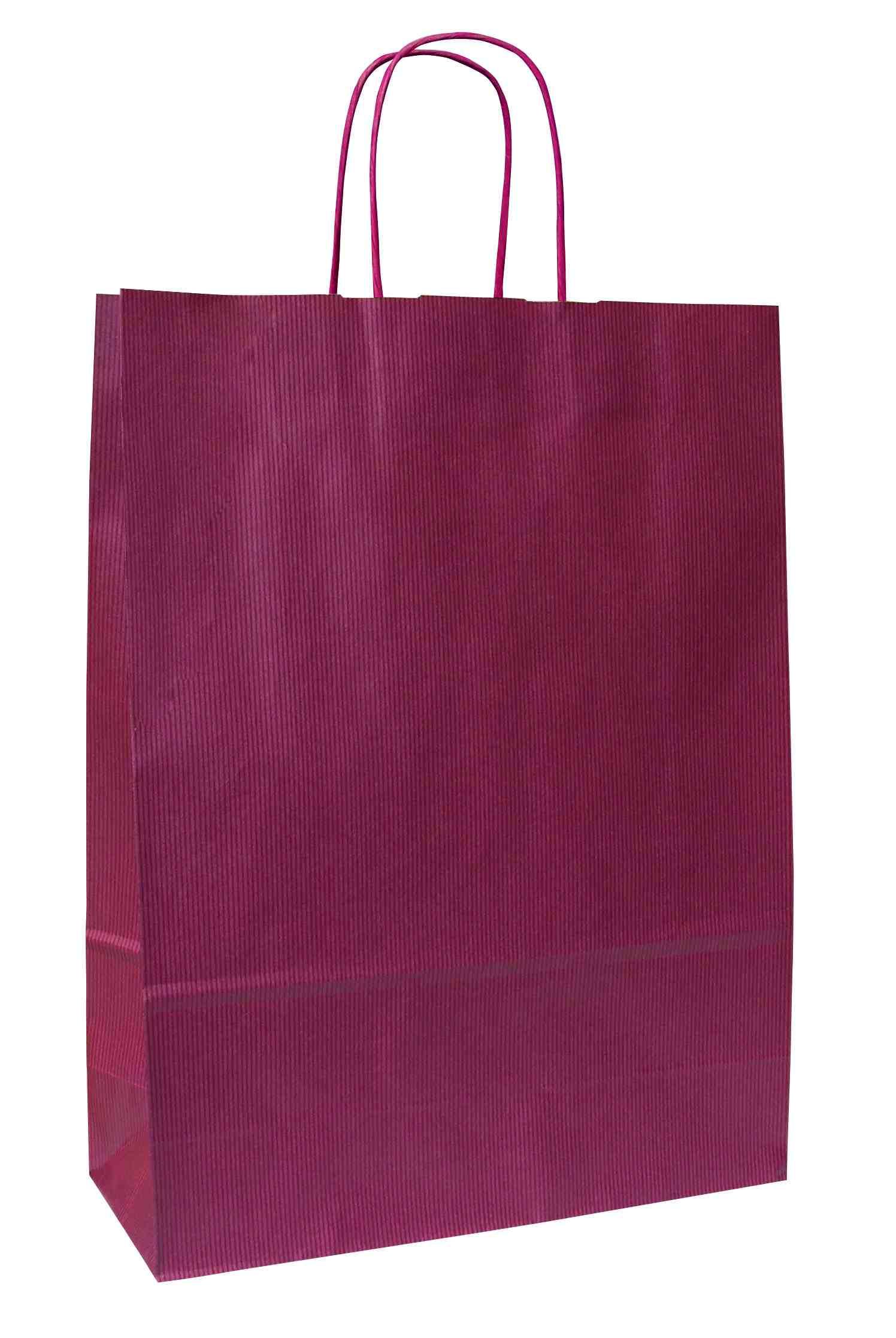Papírové tašky o rozměru<br> 230 x 100 x 320mm,vínové, kr. pap. držadlo.