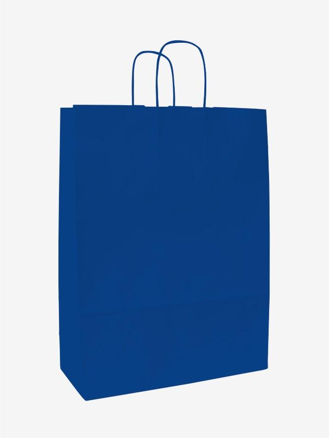 Papírové tašky o rozměru<br> 320 x 130 x 420 mm, modrá, kr. pap. držadlo.