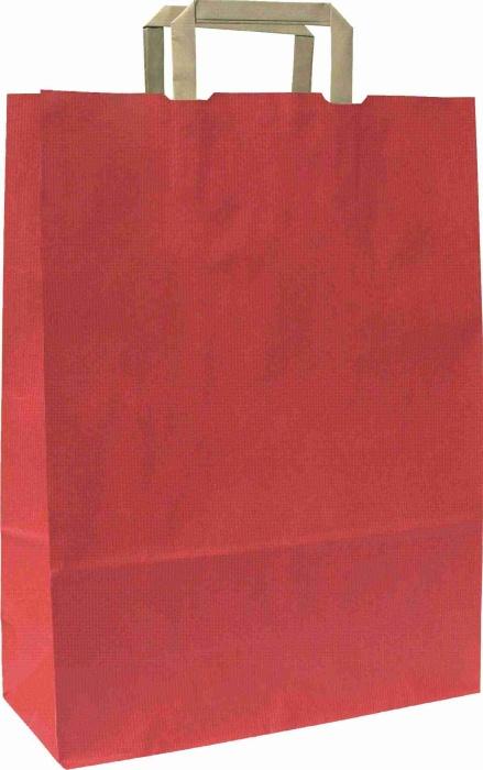Papírové tašky o rozměru<br> 180 x 80 x 250 mm,červené, hnědé ploché držadlo