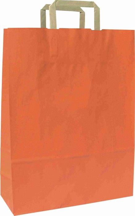 Papírové tašky o rozměru<br> 180 x 80 x 250 mm,oranžová, hnědé ploché držadlo