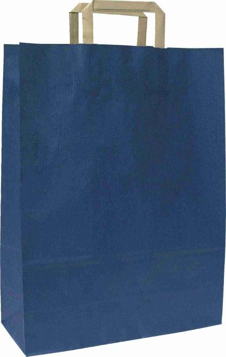 Papírové tašky o rozměru<br> 180 x 80 x 250  mm,modrá, hnědé ploché držadlo