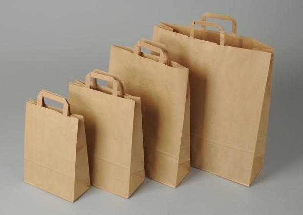 Papírové tašky o rozměru<br> 440 x 140 x 500 mm, hnědé recyklovaný pap.