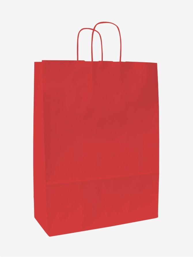 Papírové tašky o rozměru<br> 260 x 110 x 345 mm, červená, kr. pap. držadlo.