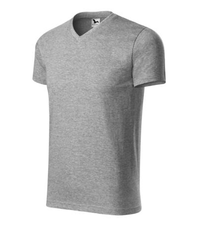 Heavy V-neck tričko unisex tmavě šedý melír XL