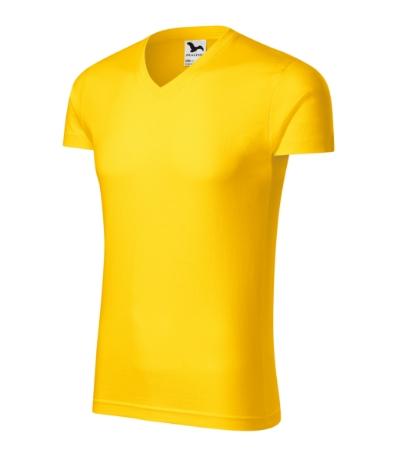 Slim Fit V-neck tričko pánské žlutá 2XL
