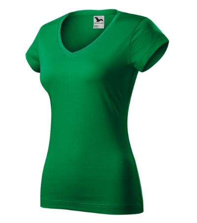 Fit V-neck tričko dámské středně zelená XL