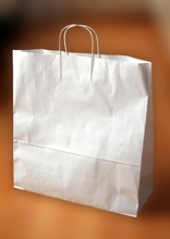 Papírové tašky o rozměru 360 x 120 x 360 mm,  kr. pap. ucho, bílé