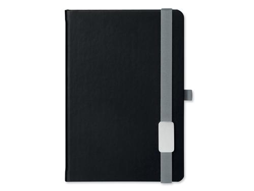 LANYBOOK - poznámkový zápisník s gumičkou 140x205 mm, stříbr