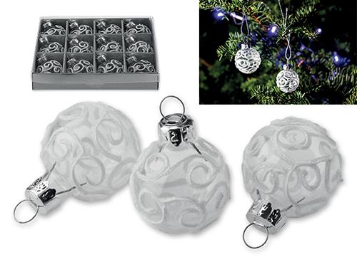 DEKOR - Skleněné vánoční ozdoby, baňky, 12 ks.