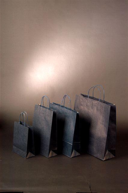 Papírová taška o rozměru 450 x 145 x 480 mm, tmavě modrá, pap. kr. držadla