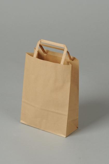 Papírové tašky o rozměru 180 x 80 x 250 mm, přírodní hnědé