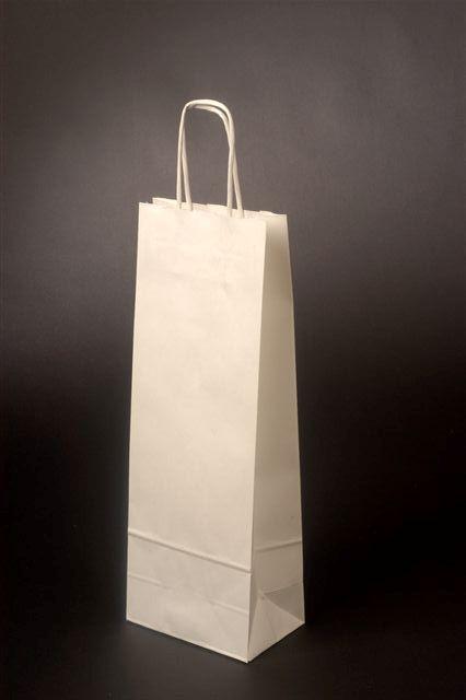 Papírové tašky o rozměru 150 x 80 x 400 mm, bílá