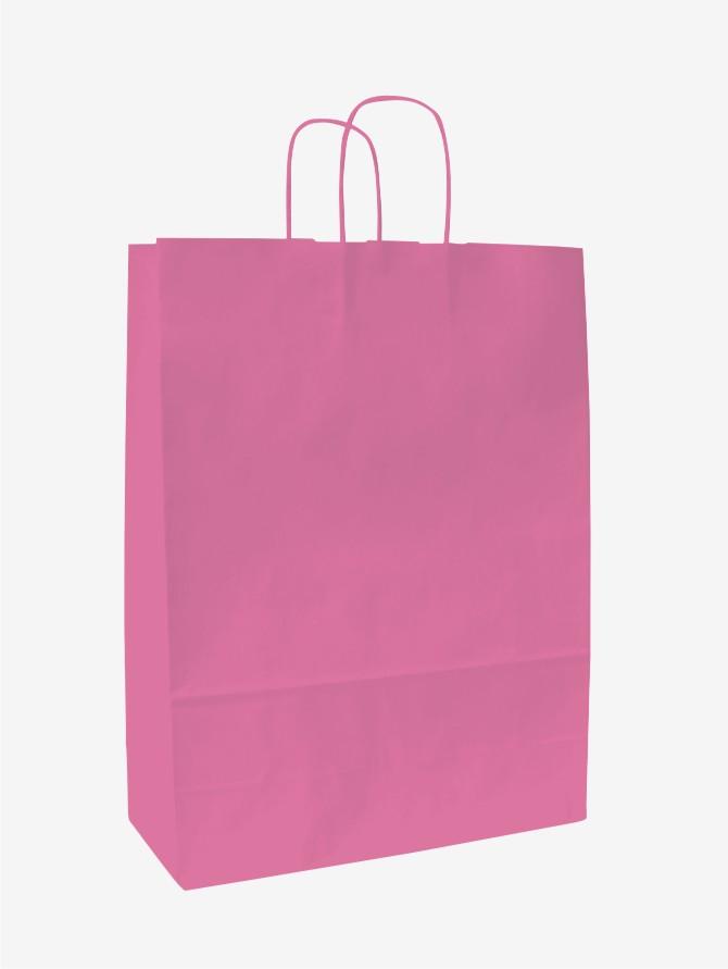 Papírové tašky o rozměru 180 x 80 x 200 mm, růžová, kr. pap. držadlo.