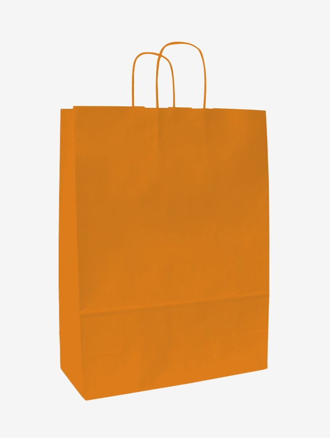 Papírové tašky o rozměru 320 x 130 x 280 mm, oranžová, kr. pap. držadlo.