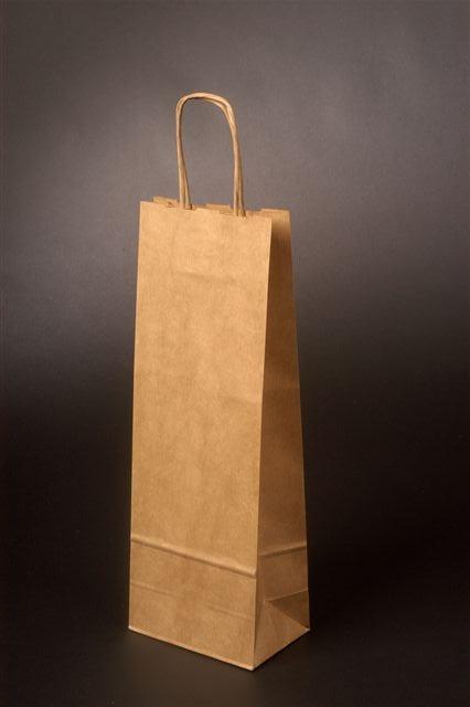 Papírové tašky o rozměru 180 x 80 x 400 mm, přírodní