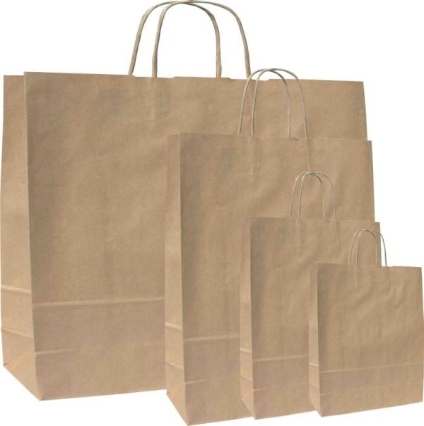 Papírové tašky o rozměru 180 x 80 x 250 mm, kr.papírové ucho, hnědý recyklovaný papír