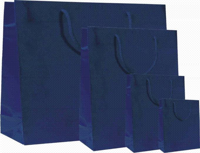 Papírové tašky s laminem o rozměru 320 x 130 x 400 mm, modré