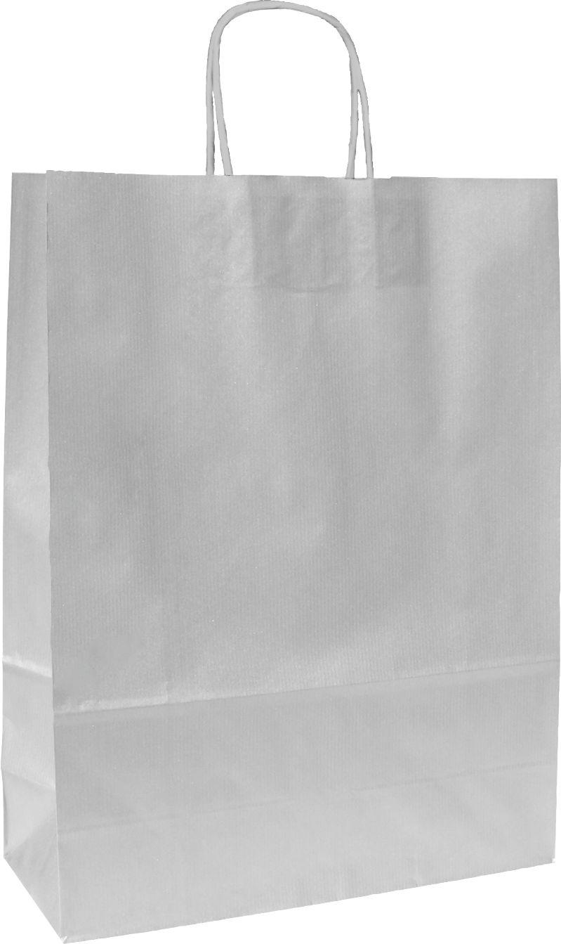 Papírové tašky o rozměru 230 x 100 x 320 mm, stříbrné, kr. pap. držadlo.