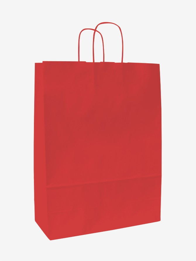 Papírové tašky o rozměru 180 x 80 x 250 mm, červená, kr. pap. držadlo.