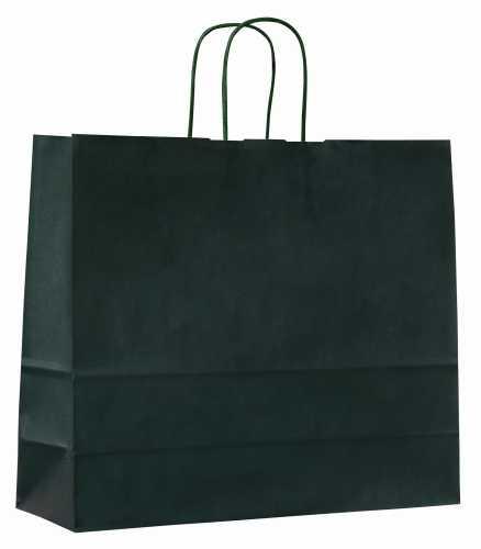 Papírové tašky o rozměru 320 x 130 x 280 mm, zelené, kr. pap. držadlo.