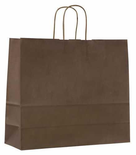 Papírové tašky o rozměru 320 x 130 x 280 mm, hnědé, kr. pap. držadlo.